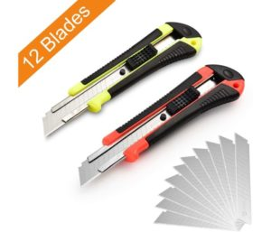 Best Box Cutters with Retractable Utility Knife, Wide Razor by Lambery