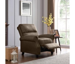 Domesis Cortez - Best Leather Recliner, Push Back Recliner Chair, Saddle Brown