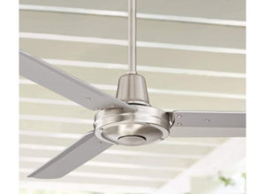 Plaza Modern Industrial Best Outdoor Ceiling Fans with Remote Control Brushed Nickel Damp Rated for Patio Porch