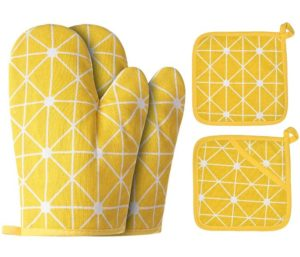 Win Change Oven Mitts and Potholders BBQ Gloves-Oven Mitts and Pot Holders, Non-Slip Cooking Gloves