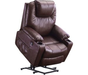 Mcombo Electric Power Lift Recliner Chair, Sofa with Massage and Heat for Elderly, USB Ports, Faux Leather