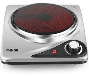 CUKOR Portable Electric Stove, 1200W Infrared Single Burner Heat-up In Seconds