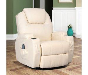 Esright Massage Recliner Chair Heated PU Leather, 360 Degree Swivel