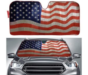 Big Hippo Sun Shade, Windshield Sun Shade American Flag Sunshades Keep Vehicle Cool