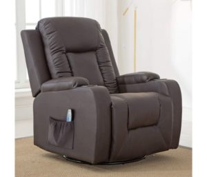 ComHoma Best Leather Recliner Chair, Modern, Heated Massage, 360 Degree Swivel Sofa Seat, Brown