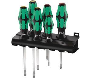 Wera Kraftform Plus Best Screwdriver Set with Rack and Lasertip, 6-Pieces