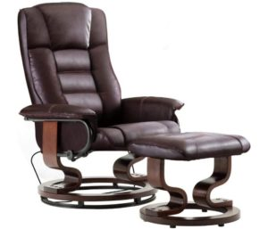 Mcombo, Best Leather Recliner Chair, Swiveling Chair, Footrest, Dark Brown