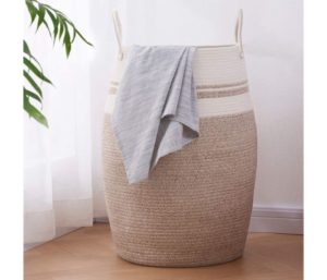 OIAHOMY Laundry Hamper Woven Cotton Rope Large Clothes Hamper