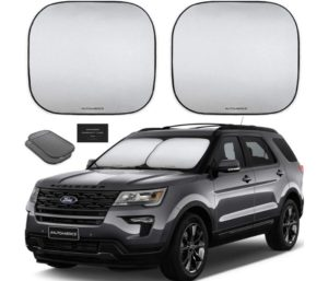Autoamerics Best Windshield Sun Shade 2-Piece Foldable Car Front Window Sunshade for Most Sedans SUV Truck