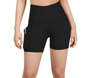 ODODOS High Waist Out Pocket Yoga Short, Best Running Shorts, Non See-Through Yoga Shorts