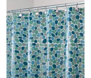 mDesign Decorative Pebble Print - Water-Resistant, Heavy Duty PEVA Shower Curtain Liner