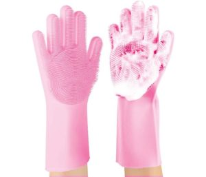 ANZOEE Reusable Silicone Best Dishwashing Gloves with Sponge Scrubbers