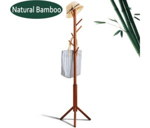 Premium Bamboo Best Coat Rack Tree Free Standing Wooden CoatRack