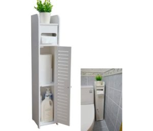 AOJEZOR Small Bathroom Toilet Paper Storage Corner Floor Cabinet