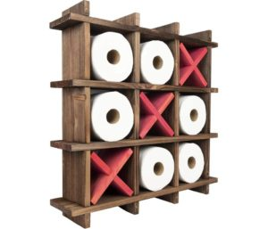 Excello Global Products Rustic Wooden Toilet Paper Storage Wall Mounted or Freestanding Storage