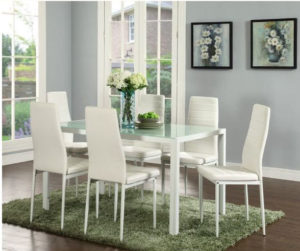 IDS Online Deluxe Glass Dining Table Set Faux Leather Chair Elegant Style