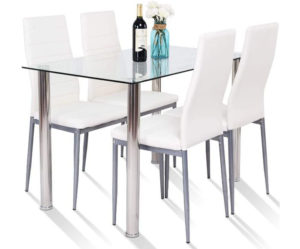 Tangkula Table Set Modern Tempered Glass Top and PVC Leather Chairs