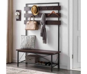 FELLYTN Wood and Metal Coat Rack with Shoe Bench