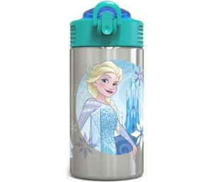 Zak Designs Frozen Stainless Steel Best Water Bottle For Kids with Flip-up Straw Spout