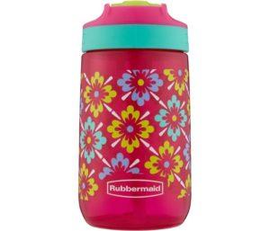 Rubbermaid Leak-Proof Sip Kids Water Bottle 14 oz Flowers Graphic