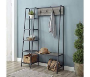 Walker Edison Furniture Company 5 Shelf Entryway Bench Hall Tree Storage