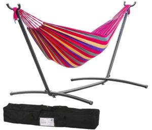 Best Folding Hammock with Space Saving Steel Stand for Patio, Tree, Outdoor