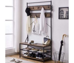 3-in-1 Entryway Coat Rack Wood Look Accent Furniture with Metal Frame