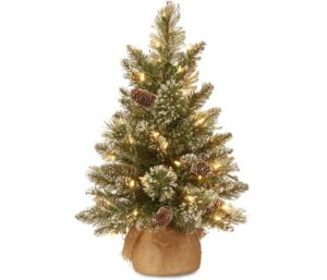 National Tree Glittery Bristle Pine Tree Small Christmas Tree with Lights