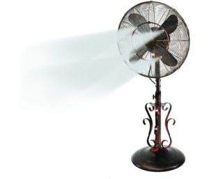 Oscillating Fan with Misting Kit Adjustable Height Weighted Base and