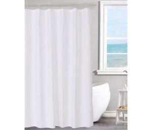 N&Y HOME Fabric Shower Curtain Liner Solid White with Magnets Machine Washable