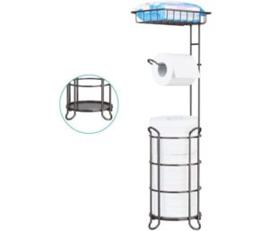 Toilet Paper Holder Stand Bathroom Top Shelf Storage Mega Rolls