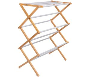 BirdRock Home Folding Steel Best Bamboo Clothes Drying Rack