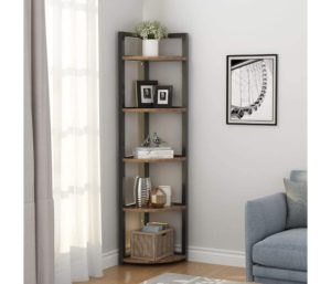 Tribesigns 5 Tier One of the Best Corner Bookshelves for Living Room, Home Office, Kitchen