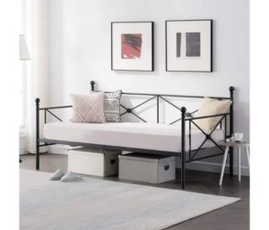 VECELO Classic Metal Full Size Daybed Frame Bed Sofa with Headboard and Twin