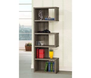 Coaster Home Furnishings Coaster Contemporary Weathered Grey Semi-Backless Bookcase