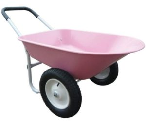 HomyDelight Pink Poly 2 Wheel Wheelbarrow