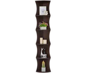 YAHEETECH 5 Tier Brown Round Wall Corner Shelf Stand Storage