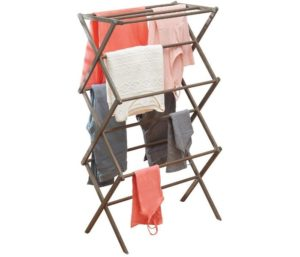 mDesign Tall Vertical Foldable Bamboo Laundry Rack