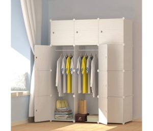 MEGAFUTURE Wood Pattern Portable Wardrobe Closet for Hanging Clothes…